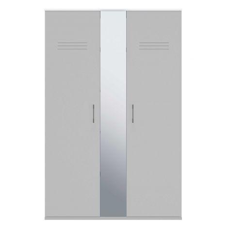 Kleiderschrank Hugo 130cm mit 2 Türen und Spiegel - grau