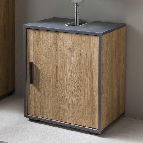 Bad Adria - Waschtischunterschrank 45 cm breit mit 1 T - Korpus Alteiche Decor, Absatz Graphit