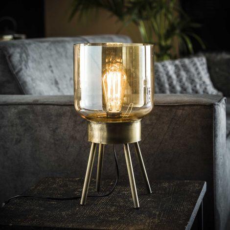 Tischlampe 4 Beine Braunglas - Bronze antik - Antike bronze