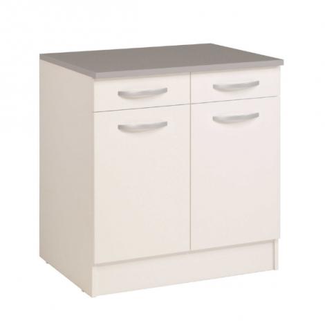 Unterschrank Eko 80cm 2 Türen und 2 Schubladen - weiß