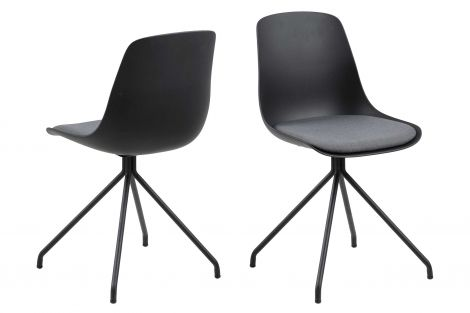 Eva dining chair - dark grey, matt black