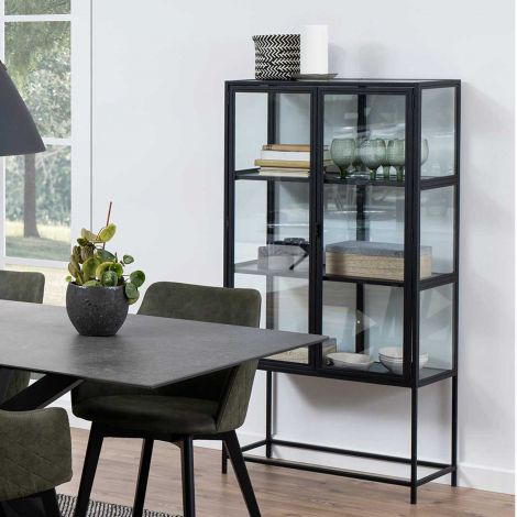 Seaford glass cabinet - black, matt black