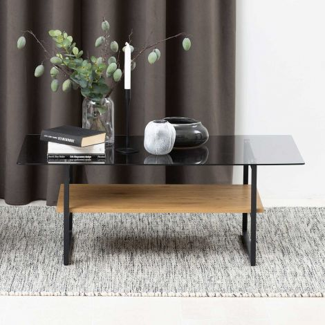 Okaya coffee table,glass table - black, smoke