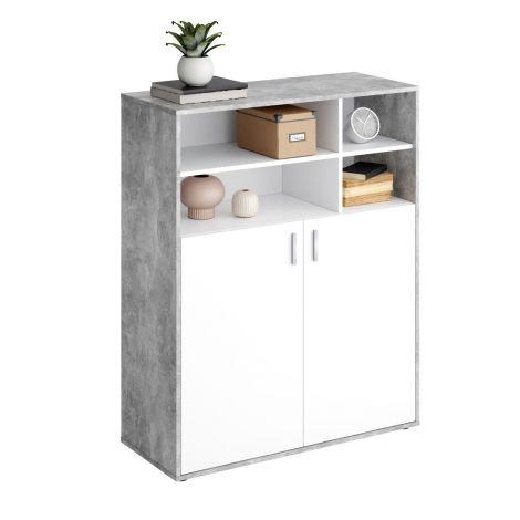 Bücherregal Pjotr - Beton/Weiß