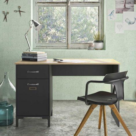 Schreibtisch Manno 120cm Industrie - schwarz
