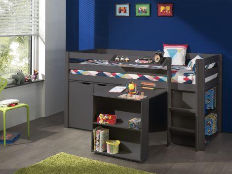 Halbhochbett Charlotte mit Schreibtisch, Bücherschrank und Regalen - taupe