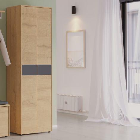 Kleiderschrank Beck 2 Türen 60 cm - Eiche/Graphit