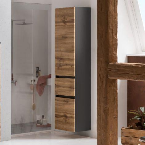 Säulenschrank Kornel/Luna 40cm 2 Türen und 1 Schublade - graphitgrau/Eiche