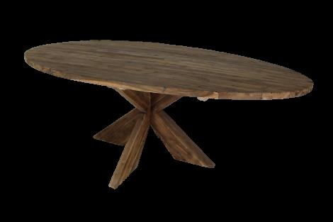 Ovaler Esstisch mit Schrittfuß - 200x100 cm - Vintage - Teakholz