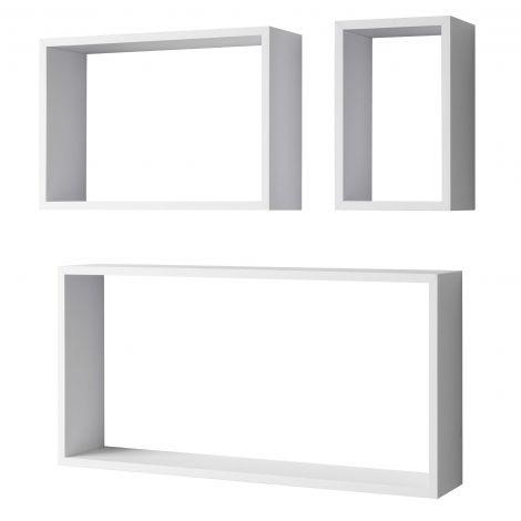 Set mit 3 Wandgestellen Regalrechteck - weiß