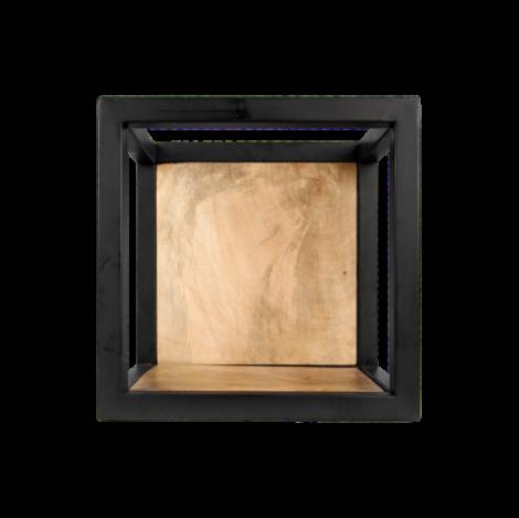Wandkasten Nivelliere - 25x25 cm - Mangoholz / Eisen
