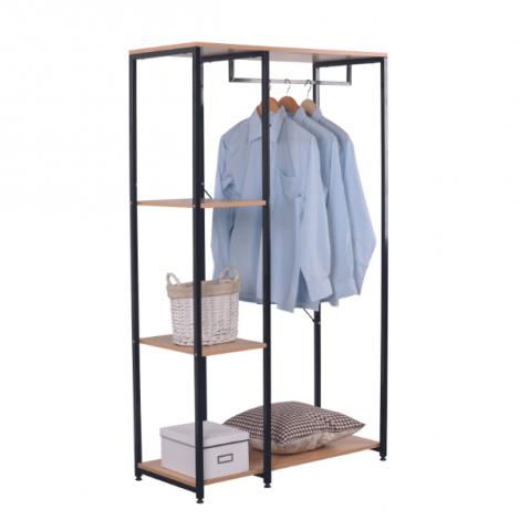Kleiderständer Kato 1 Stange - Metall/Massivholz