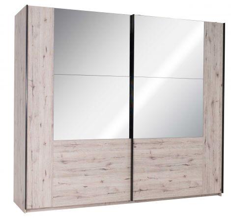 Kleiderschrank Paris 250cm mit 2 Schiebetüren und Spiegel - Eiche