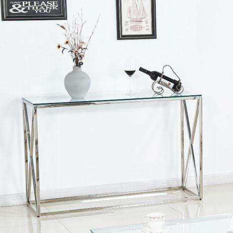 Beistelltisch Quebec 120cm - silber/glas