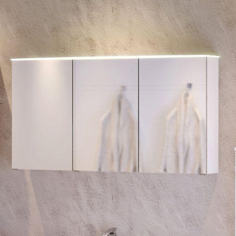 Spiegelschrank Florent gebogen 100cm mit 3 Türen und LED-Lichtleiste - weiß