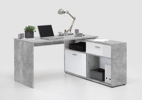 Diego Eckschreibtisch - Beton/Hochglanz-weiß