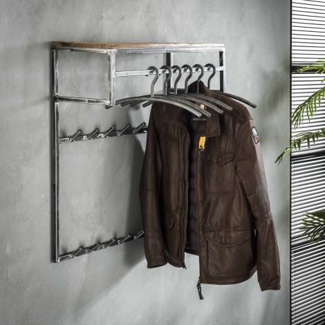 Garderobenständer Anais 2x7 Haken, Stange und Hutablage