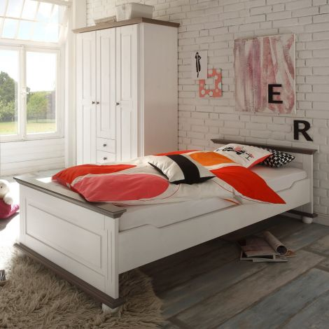 Einzelbett Laurel 90x200 - weiß/braun