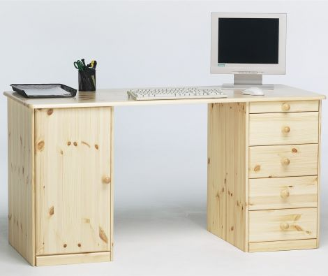 Desk KENT 270 - Desk with 1 door and 1+4 drawers - NATURAL LACQUER