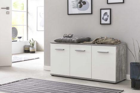 Schuhschrank Dion 3 Türen - Weiß/Beton