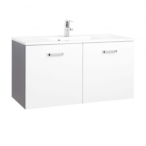 Waschbeckenschrank Bobbi 100cm 2-türig - graphit/hochglanz-weiß