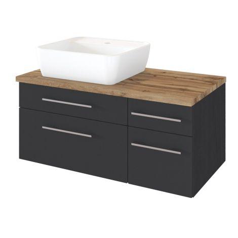 Waschtischunterschrank Dasa (links) 90cm mit 4 Schubladen - graphit/mattgrau