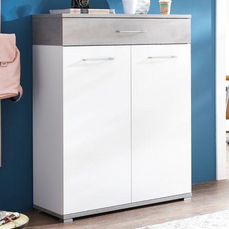 Schuhschrank Stoffel 89cm mit 2 Türen und 1 Schublade - weiß/betont