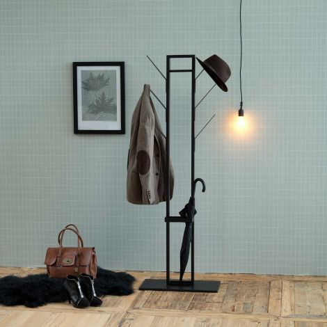 Vinci Garderobenständer mit Schirmständer - schwarz