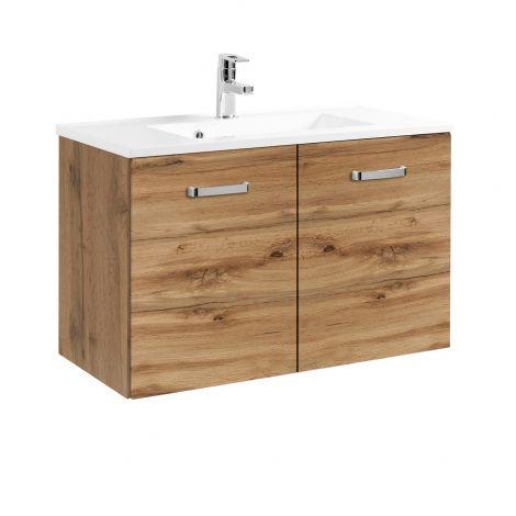 Waschbeckenschrank Bobbi 80cm mit 2 Türen und Keramikspüle - Eiche