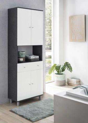 Badezimmerschrank Andrew 1 Schublade und 4 Türen - weiß/graugrau