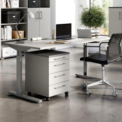 Schreibtisch Presley 160cm mechanisch verstellbar - hellgrau/silber