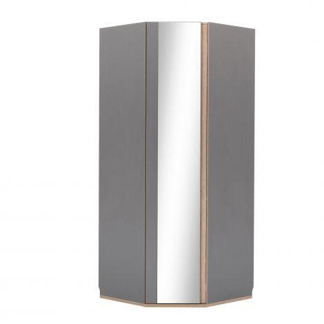 Eckkleiderschrank mit Spiegeltür Birger - grau