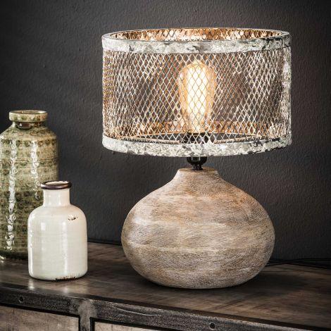 Tischlampe massivem Holz konvexen Fuß - Verwitterten Kupfer