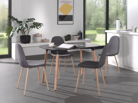 Tisch 'Evi' 120x80 Schwarz matt