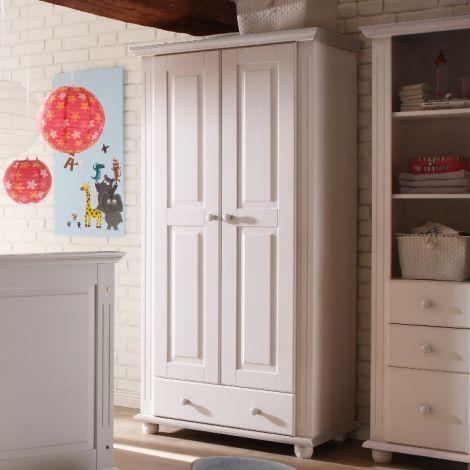 Kleiderschrank Laurel 96cm mit 2 Türen und 1 Schublade - weiß