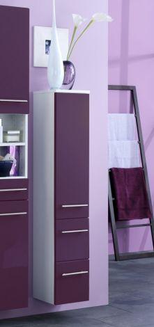 Säulenschrank Small 25cm 1 Tür und 2 Schubladen - hochglänzend lila