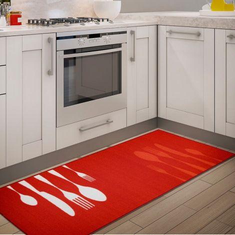 Teppich La Cucina Abendessen 140x57 Nylon - Rot