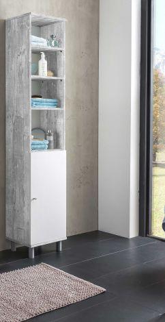Säulenschrank Benja 1 Tür - Weiß/Beton