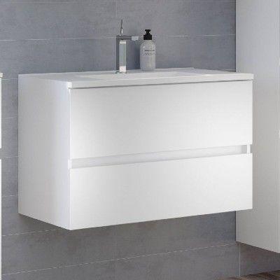 Waschbeckenschrank Brama 100cm 2 Schubladen - weiß