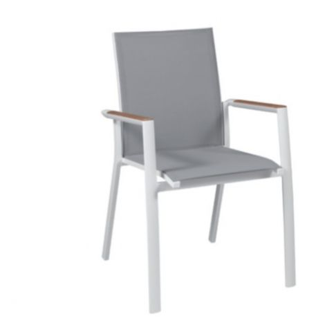 Gartenstuhl Diaby - weiß/hellgrau