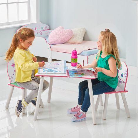 Kindertisch mit Stühlen Blumen und Vögel