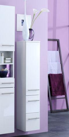 Säulenschrank Small 25cm 1 Tür und 2 Schubladen - hochglänzend weiß