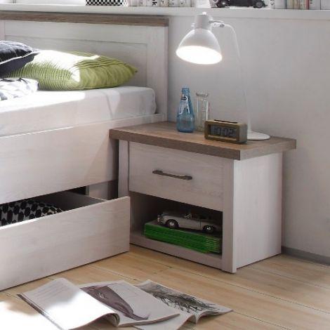 Nachttisch Larnaca mit 1 Schublade - weiß