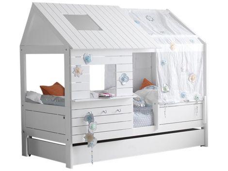 Hüttenbett Silversparkle - weiß lackiert