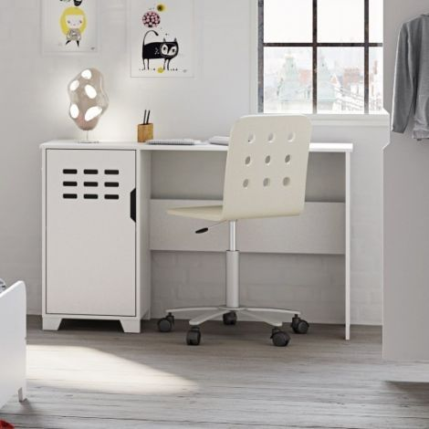 Desk LOKE 080 - Desk with 1 door - EXTRA WHITE