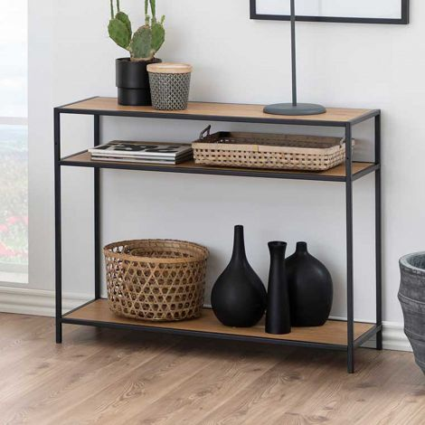 Seaford console - matt black, wild oak