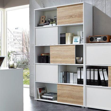 Tyson Bücherregal und Aufbewahrungsschrank - weiß/Eiche