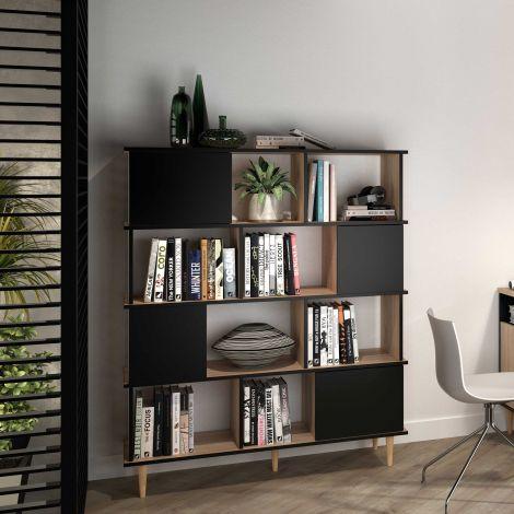 Bücherregal Nosk 120cm mit 4 Türen - schwarz/eick
