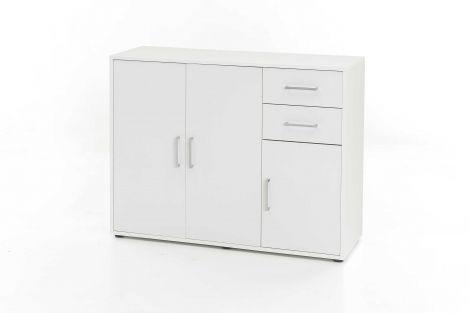 Kommode mit 3 Türen und 2 Schubladen - Melamin Weiß Dekor