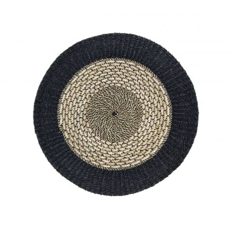 Teppich Malibu 120cm Raphia/Meeresgras natur/schwarz